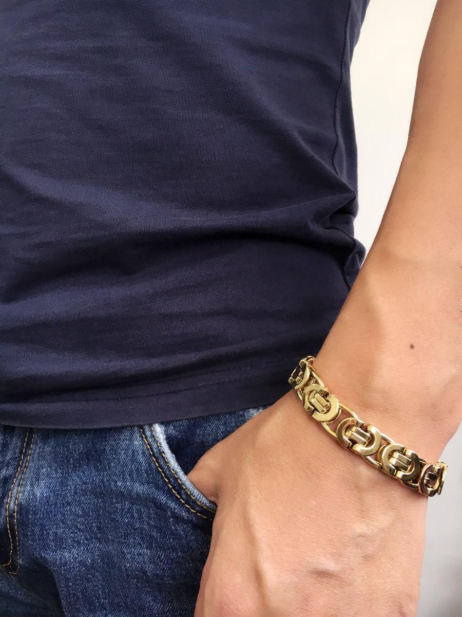 pulseira masculina aço inox banhado ouro pronta entrega. Carregando zoom. f724be22d1