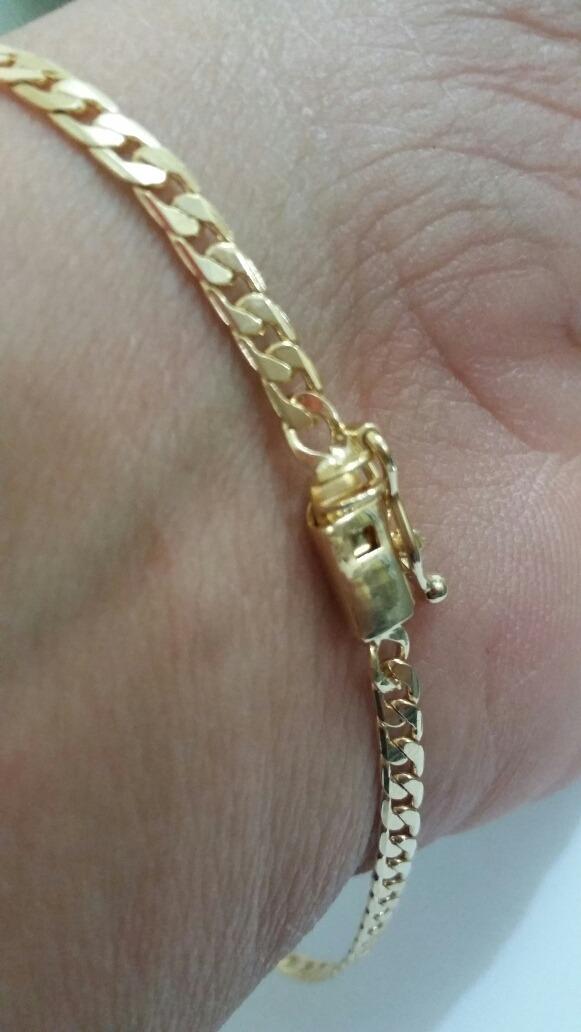 691c69e6c371f Pulseira Masculina Banhada A Ouro 18k 3mm Grumet - R  89,90 em ...
