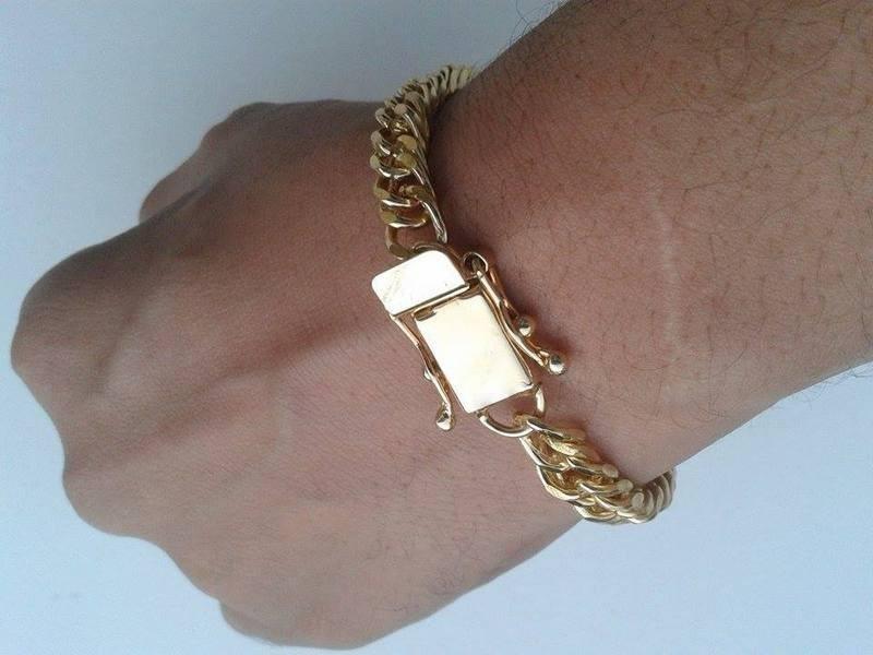 pulseira masculina banhada a ouro com fecho gaveta new style. Carregando  zoom. cd139f8fe2