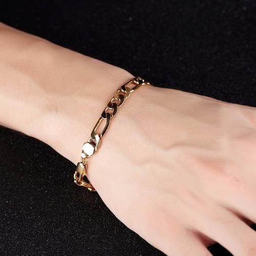 pulseira masculina banhada em 5 camadas de ouro18k elos 3x1