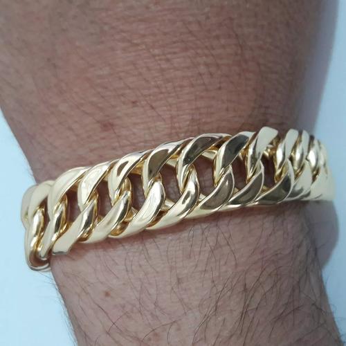 pulseira masculina banhada ouro 18k 16mm oca fecho gaveta