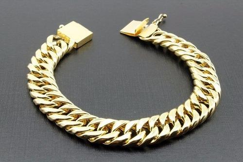 pulseira masculina banhada ouro 18k oca 11mm f. gaveta 18cm