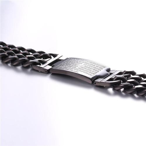 pulseira masculina banhada ouro 18k + oração pai nosso 23mm