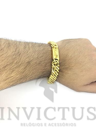 pulseira masculina banhada ouro
