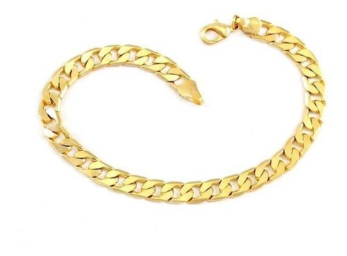 pulseira masculina banhada ouro grumet 1 ano de garantia