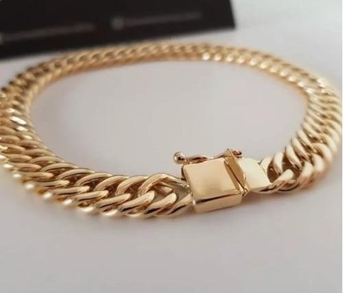 pulseira masculina banhado ouro 18k 8mm oca fecho gaveta