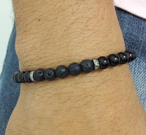 pulseira masculina biojoia pedra natural onix lava vulcanica