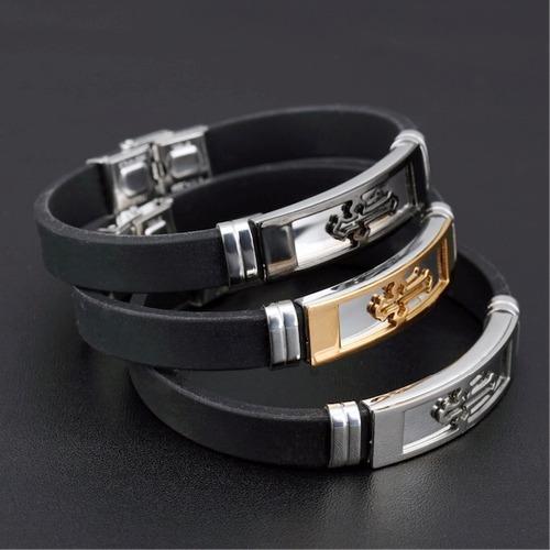 pulseira masculina bracelete aço 316l + cruz banhada ouro18k
