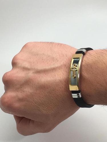 pulseira masculina bracelete aço