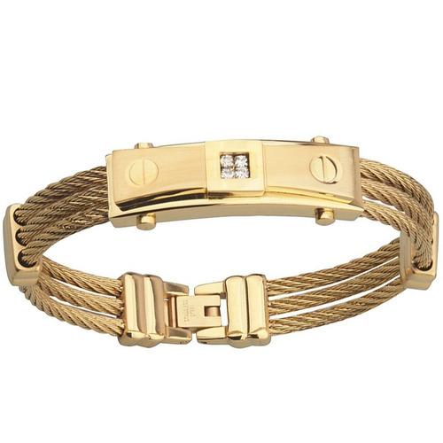pulseira masculina bracelete aço inox trabalhado + ouro 18k