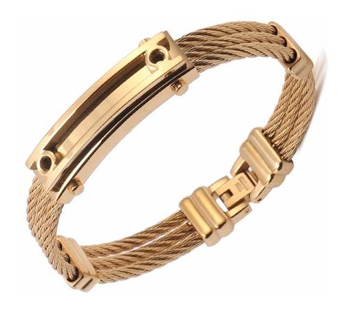 pulseira masculina bracelete aco inoxidavel banhada 18k m61