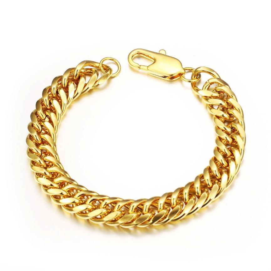 pulseira masculina bracelete banhada em ouro 18k 22cm x 12mm. Carregando  zoom. 05006256b4