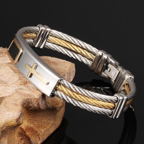 pulseira masculina bracelete banhada ouro 18k + cruz dourada