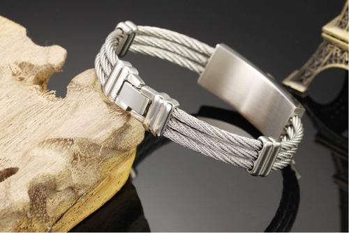 pulseira masculina bracelete de aço + banho em ouro + couro