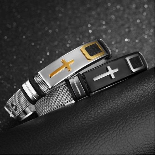 pulseira masculina bracelete de aço malhado + ouro 18k