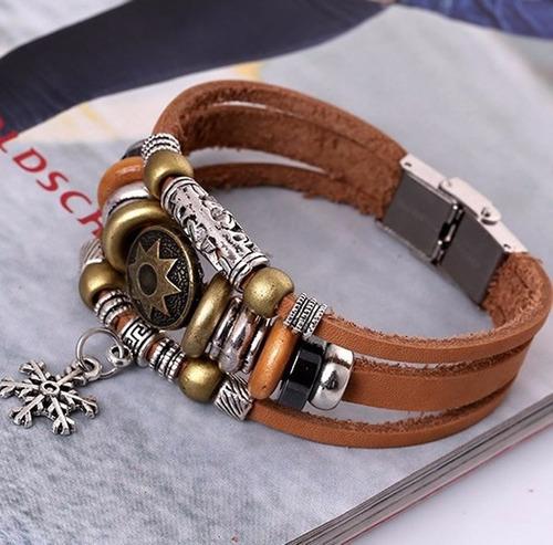 pulseira masculina bracelete de couro com detalhes em zinco