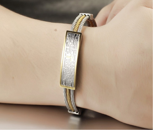 pulseira masculina bracelete oração pai nosso + banho ouro
