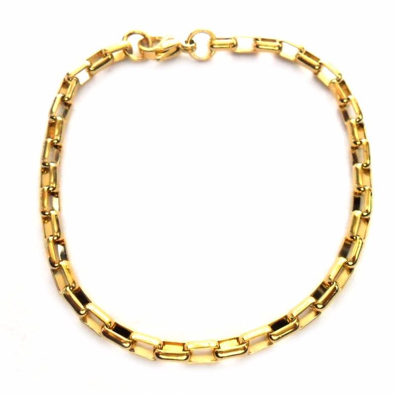 03d1033d30d pulseira masculina cartier elo quadrado aço folheado a ouro. Carregando  zoom.