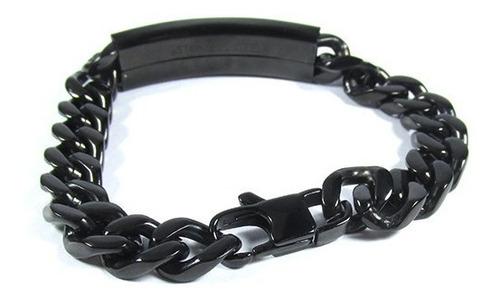 pulseira masculina corrente pai nosso preta aço