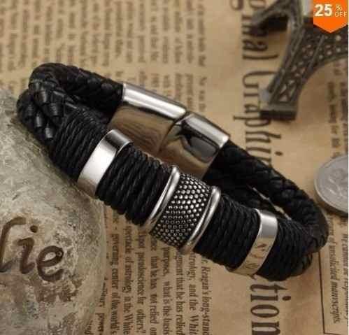 pulseira masculina couro
