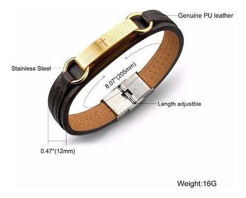 pulseira masculina couro + aço inoxidável ouro 18k mod.18
