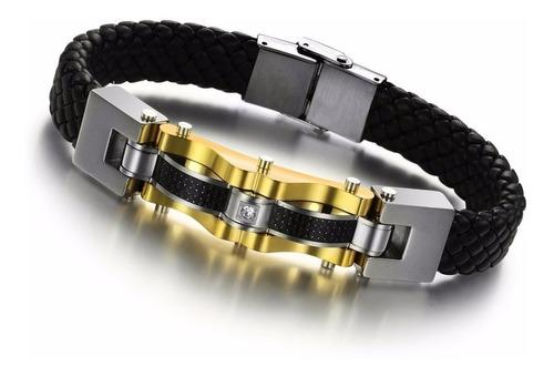 pulseira masculina couro banhada ouro 18k luxo