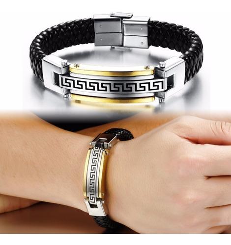 pulseira masculina couro bracelete + aço inoxidável banhada