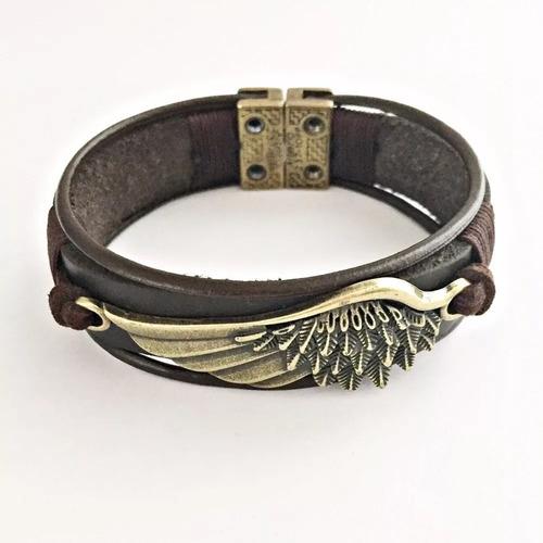 pulseira masculina couro bracelete asa anjo fecho magnetico