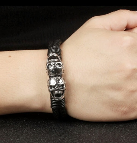 pulseira masculina couro caveira aço inox fecho magnético