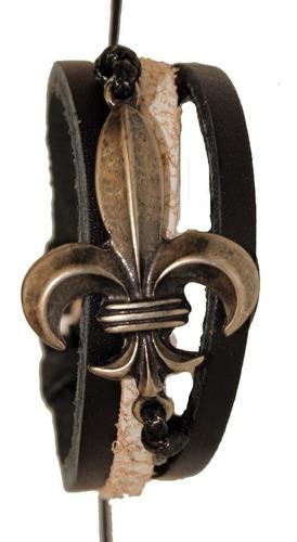 pulseira masculina couro com pingente prateado ajustável