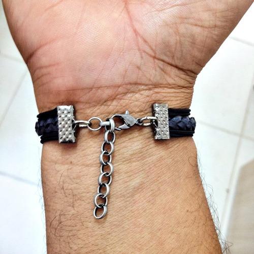 pulseira masculina couro cruz tudo posso naquele