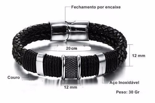 pulseira masculina couro legítimo + aço inoxidável luxo 19cm