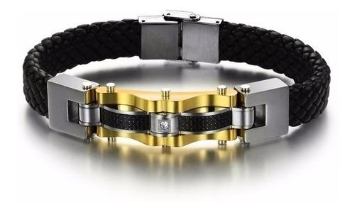 pulseira masculina couro legítimo bracelete banhada ouro 18k