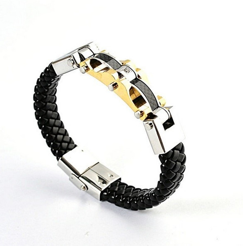 pulseira masculina couro legítimo bracelete promoção luxo
