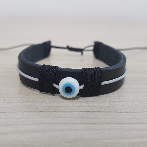 pulseira masculina couro legitimo e olho grego