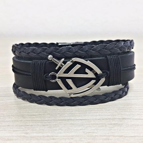 pulseira masculina couro legitimo escudo fé bracelete gospel