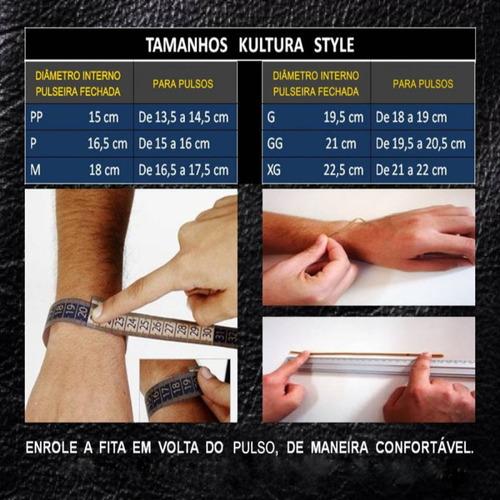 pulseira masculina couro legítimo preto pronta entrega