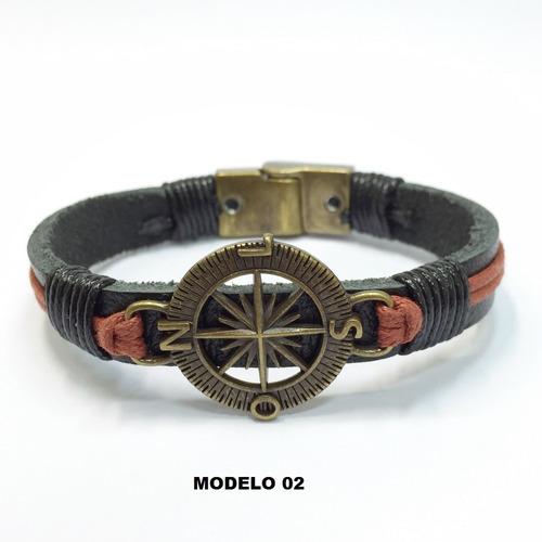 pulseira masculina couro legítimo rosa dos ventos bussola