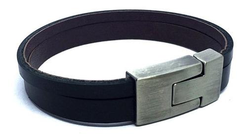 pulseira masculina couro legítimo skin elegante com fecho magnético