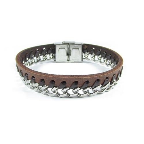 pulseira masculina couro marrom e corrente aço