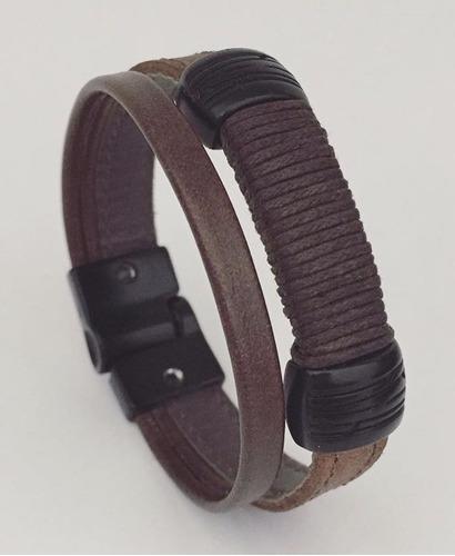 pulseira masculina couro marrom fecho ima preto