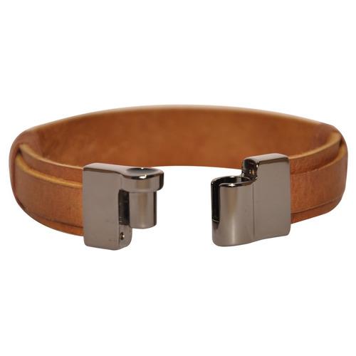 pulseira masculina couro metal ônix perfeito
