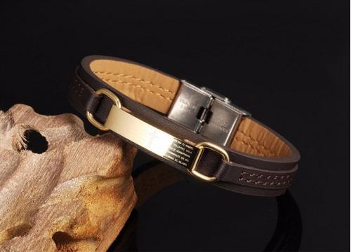 pulseira masculina couro ouro