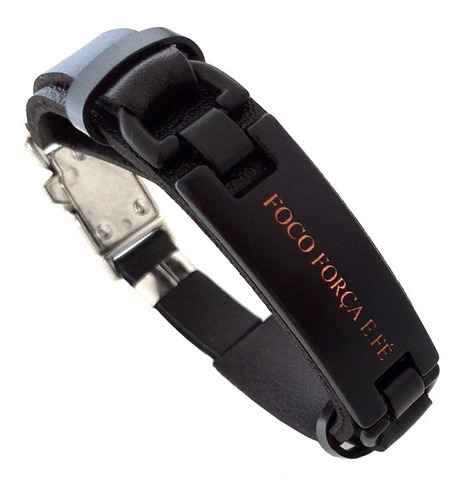 pulseira masculina couro preto placa fosca foco força e fé