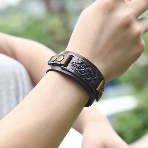 pulseira masculina couro vikings bracelete viking tribal
