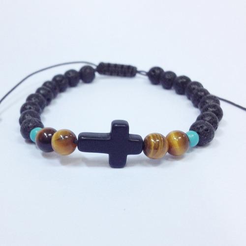 pulseira masculina crucifixo lava vulcanica olho tigre cruz