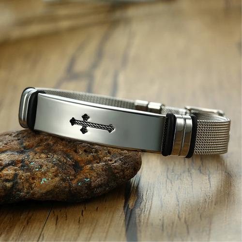 pulseira masculina cruz crucifixo aço + banho ouro ajustável