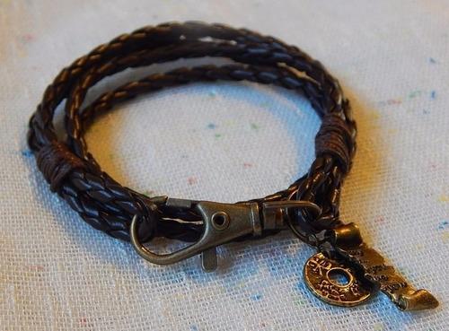 pulseira masculina de couro