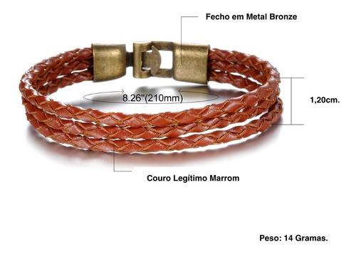 pulseira masculina de couro bracelete original marrom 21 cm