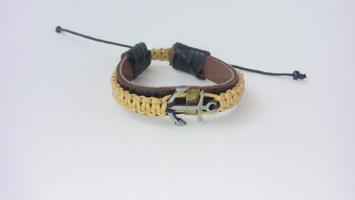pulseira masculina de couro com shambala.